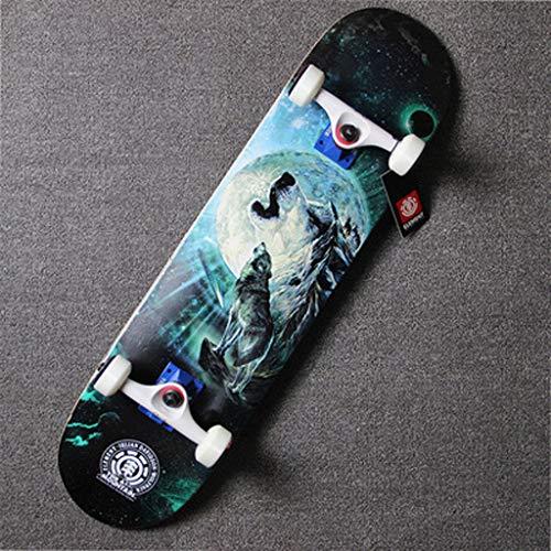Reise-Straßen-Bremsungs-Tätigkeits-Fachmann-Vier Räder-bilaterales Neigungs-Skateboard-Erwachsen-Versammlungs-Skateboard (Farbe : Wolf)