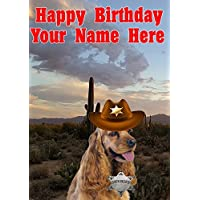 Cocker Spaniel Dog j789 Cowboy Sheriff Fun Cute Happy Birthday A5 Personalised Greeting card POSTED BY US GIFTS FOR ALL 2016 FROM DERBYSHIRE UK