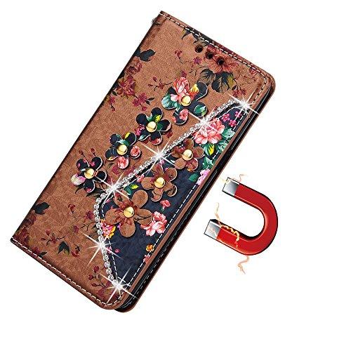 Custodia per Samsung Galaxy S7[Free protezione per lo schermo in vetro temperato] con cinturino da polso, mo-beauty ® floreale Classic Premium PU Portafoglio in pelle 3d strass fiore rosa Design Flip Flower #2