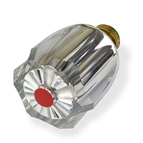 Stabilo-Sanitaer Hahnoberteil 1/ 2 Zoll rot Ventil Oberteil Messing Warmwasser mit Acryl-Griff Ersatzteil Armatur Wasserhahn