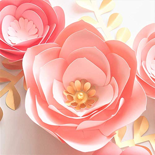 NIMEYX Handgemachte Karton Baby Rosa Fleur DIY Papier Blumen Gold Blätter Set 4 Kinderzimmer Wand Deco Baby Dusche Mädchen Zimmer - Fleur Blatt De