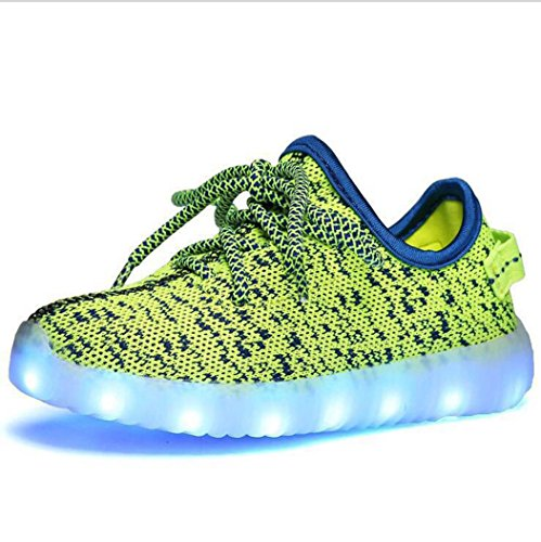 Modelshow Garçons Filles Chargeur USB 7 Couleurs LED Lumineux Tricoter Baskets Mode Allumer Chaussures Vert