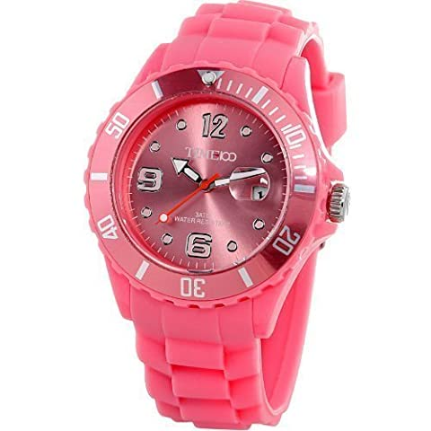 Time100 - Montre quartz Rotative Brillante Écologique Bracelet silicone À la mode Unisexe Rose Pâle -