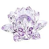 Sumnacon Fleur de Lotus Cristal,dia 100mm - Pour la Décoration dans la Maison, idéal Cadeau pour anniversaire, les fêtes (Violet)