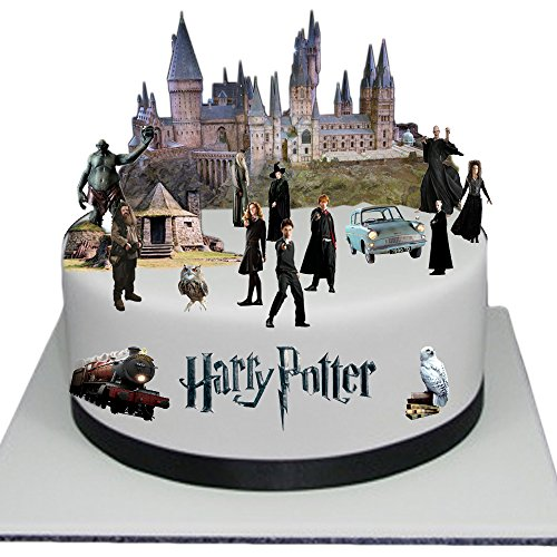 Adorno para torta comestible, diseño escena en relieve de Harry Potter, fácil de usar 9