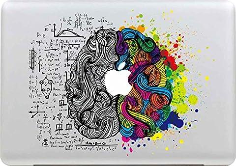 Sticker Macbook, Stillshine New Fashion Coloré Vinyl Decal Autocollant pour Apple MacBook Pro / Air 13 Pouces pour Ordinateur (Gauche et Cerveau DroitCréativité)
