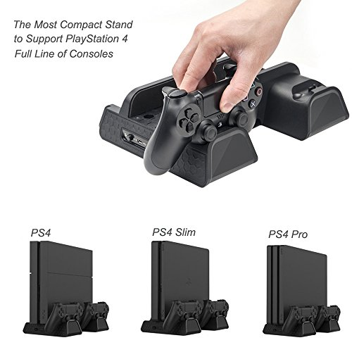 PlayStation Soporte Vertical con ventiladores  estación de carga para dos Dual Shock controles  estante de almacenamiento para 12 Discos de Juego – ElecGear Vertical Stand  Cooling Fan Cooler and Charging Station Charger for PS4 /Pro /Slim and DualShock 4 Controller