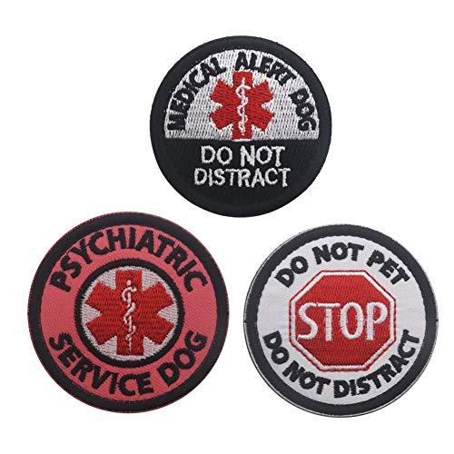 SOUTHYU 3 Stück Service Hund Medical PTSD EMT EMS Taktisches Militär Moral Stickerei Klett Patch Aufnäher Abzeichen Applikationen, Haken und Schleife Patch für Weste Hundegeschirre (#4) -