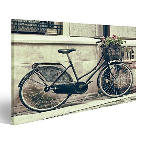 Bild Bilder auf Leinwand XXL Bild ! Direkt vom Hersteller ! Poster Leinwandbild Wandbilder Kunstdruck verschiedene Formate ! AWA Hollandrad mit Blumenkorb Sepia Vintage