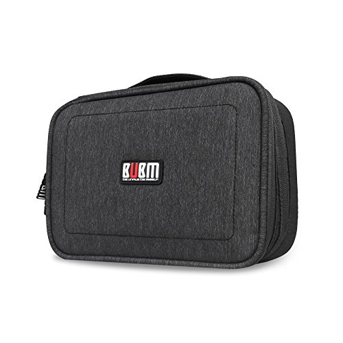 BUBM Electronics Accessories Carry Case Travel Cable Bag Gadgets Storage Organiser 2 Compartments with Cable Ties