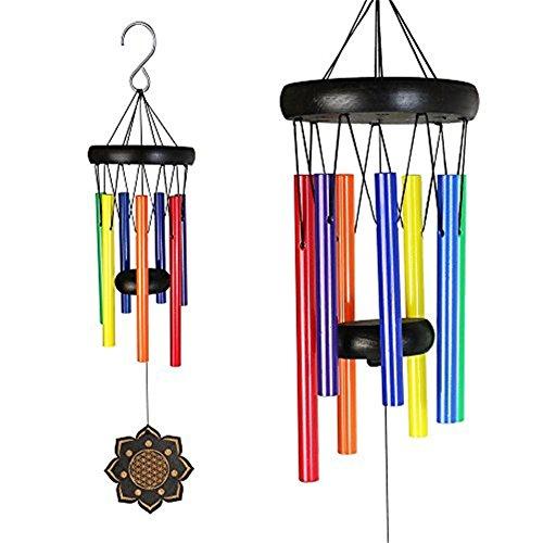 Deerbird® Bois Coloré Carillons de Vent Et 7 espèces Différentes Couleurs Tube en métal Beech Noir Revêtement Carillons de Vent Jardin Terrasse Balcon et Décoration extérieure