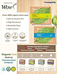 "WOW Premium 100% USDA Certified Organic Cotton Regular Medium Pads, Ultra Slim Natural Sanitary Napkins with Wings 9.8""(25cm) 12 Total for Sensitive Skin"