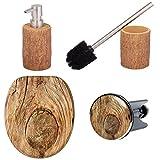 Premium Badezimmerset Rustikal | elegantes Design in Holz Optik | schöner Blickfang im Badezimmer (Seifenspender)