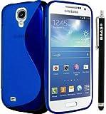 BAAS® Samsung Galaxy S4 Mini i9190 - Bleu S-Ligne Coque en gel silicone + Stylet + 3x Film de Protection d'Ecran