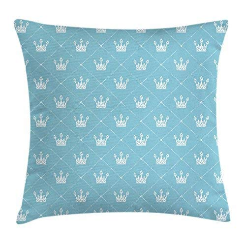 Queen Throw Pillow Cushion Cover, Vintage Crown Silhouette with Rhombus Frames Ornate Heraldic Symbols of Royalty, Decorative Square Accent Pillow Case, 18 X 18 Inches, Pale Blue White