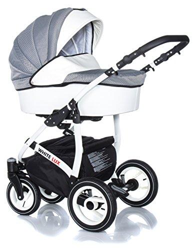 +++ SALE Raff White Lux System Kinderwagen Babywagen Buggy, Autositz Kinderwagen System 3 in1 + Wickeltasche + Regenschutz +Insektenschutz (Set 3w1: Wanne + Sportsitz + Babyschale, Carbon)