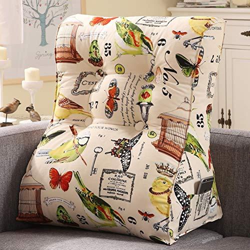 HAOLY Coton Toile Stéréo Coussin,Coussin avec Housse Amovible Coton Dossier de Lecture pour canapé-lit Reste Grand Coussin Throw Pillow-J 40x30x55cm(16x12x22inch)