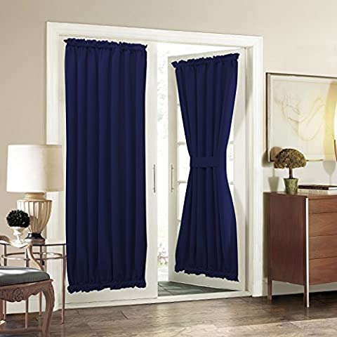 Aquazolax Privacy Interwoven Lined Blackout Drapery Solid Curtains with Tiebacks for French Glass Door - 1 Panel, 54