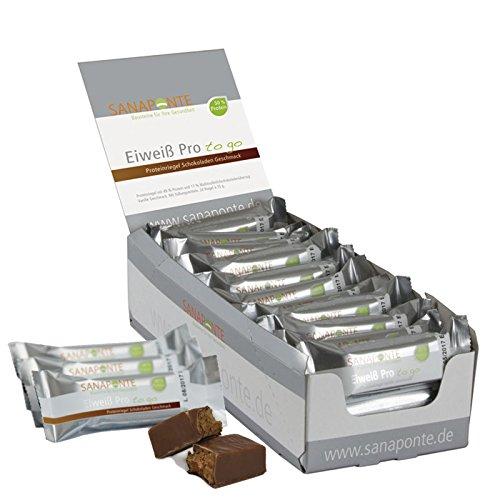 !! Neu !! TESTSIEGER !! Sanaponte Eiweiß Pro to go Riegel 50% Protein (24 x 35g Riegel) Low Carb Protein Riegel Schokoladen Geschmack - Protein Bar - nur 125 kcal pro Riegel