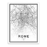 qiaoaoa Schwarz Weiß Benutzerdefinierte Welt Stadtplan Rom