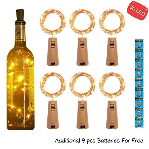 kolpop 3m 30 LED Flaschenlicht Batterie (6 Stück), Glas Korken Licht Kupferdraht Lichterkette Warmweiß für Party, Garten, Weihnachten, Halloween, Hochzeit, Beleuchtung Deko (außen/innen) -
