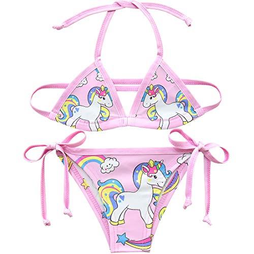 Traje de baño de Dos Piezas Colorido con diseño de Unicornio para niñas Estilo 4 Talla única