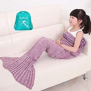 Mermaid Tail Decke, AIGUMI All Seasons Meerjungfrau Schlafsack Blanket, Häkeln Handwerk Warm Sofa Wohnzimmer BlankeT für Kinder (Lavendel)