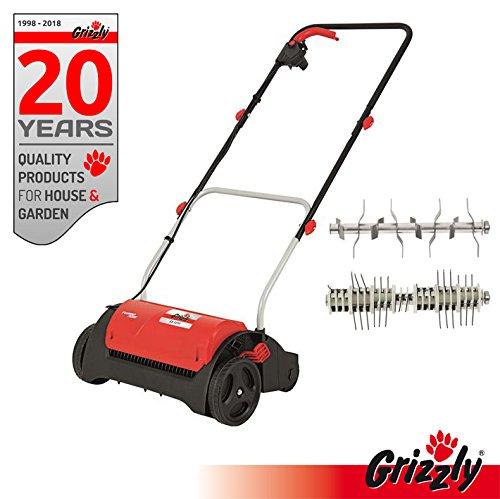 Grizzly 2 in 1 Elektro Vertikutierer Set ES 1231 Elektrischer Rasen Vertikutierer, Rasen Lüfter mit 1200 Watt Motor, 31 cm Arbeitsbreite, klappbaren Griff und Lüfterwalze - zur Garten und Rasenpflege