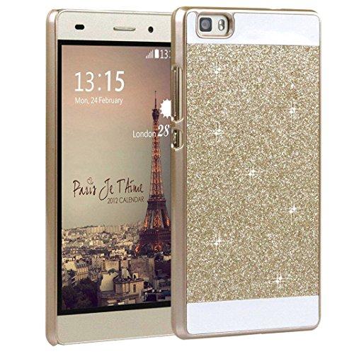 Für Huawei P8 Lite Hülle, Asnlove Kristall Schutzhülle für Huawei P8 Lite Glitter Bling Hart PC Schutz Etui Tasche Glitter Cover(Golden)