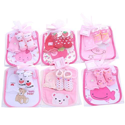 Mädchen Socken Set (Blaward Neugeborenes Baby Mädchen Geburtstagsgeschenk Set Rosa Prinzessin Stil Streifen Socken Cartoon Lätzchen (0-12 Monate))