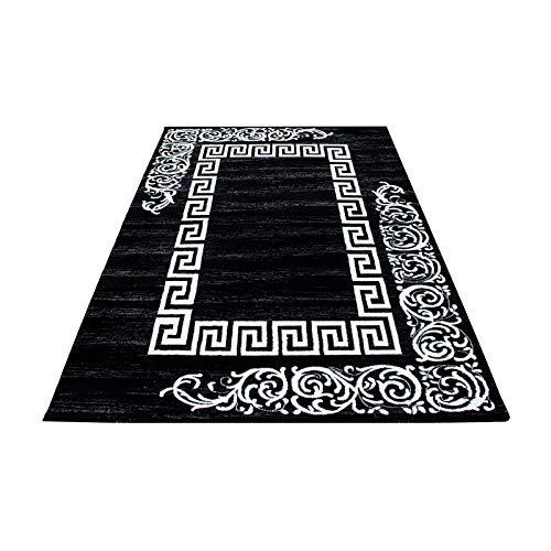 Teppich modern Designer Wohnzimmer Versace Muster Barock Motiv Schwarz Grau Weiß Oeko Tex Standarts, Maße:200x290 cm -