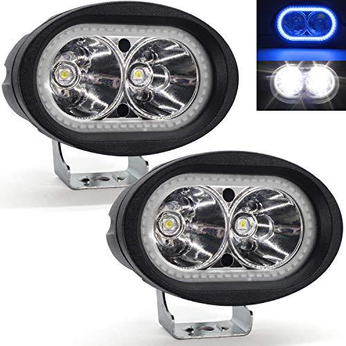 Faretti LED Moto Supplementari,YuanGu 20W Moto Faro da Lavoro Luce Con Blu Angel Eyes Halo Ring LED Lampada Lavoro Offroad Impermeabile 12V /24V per Moto Truck ATV SUV UTV Boat 2Pcs