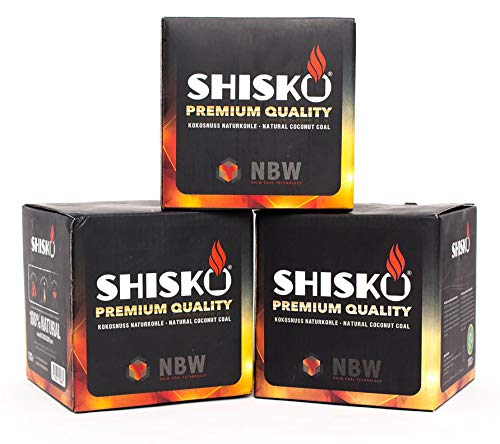 Shisko Premium Natur Kokosnusskohle Ohne Chemische Zusätze, 1kg Set, 2,6cm Cubes, Shishakohle mit Höchster Qualität, Schwarz