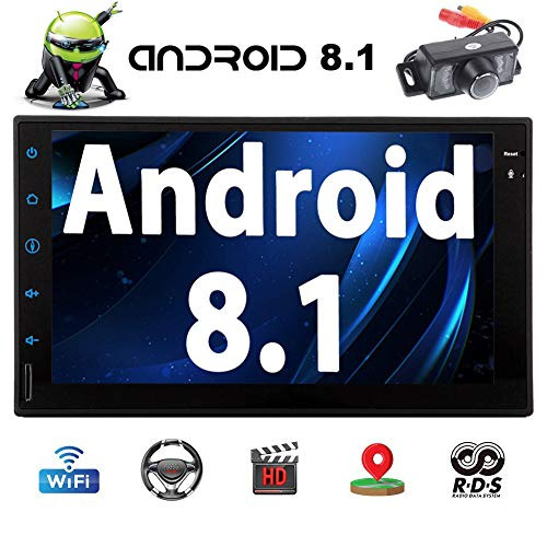 Android 8.1 Auto-Stereo 7-Zoll-HD Digital Multi-Touch-Screen Bluetooth Head Unit Autoradio In-Dash Video-Player Unterst¡§1tzung WiFi GPS Navigation 1080p Video OBD2 hintere Kamera-Auto-Firmenzeichen-