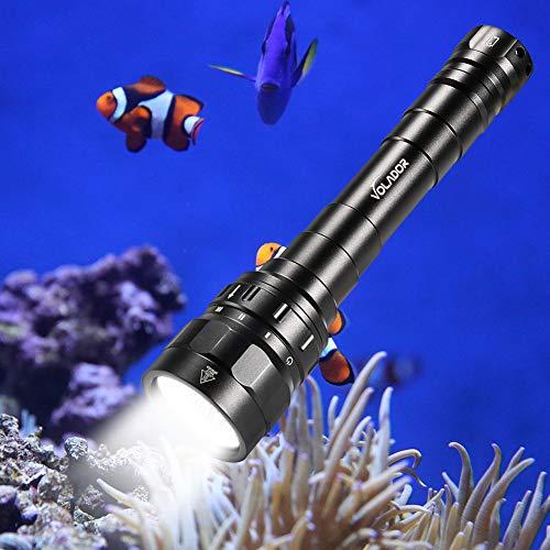 Volador Tauchen Taschenlampe, 3100 Lumen Unterwasser Taschenlampe, 3* CREE XPL LED Taucherlampe, Unterwasser100m wasserdicht Submarine Licht mit 2X 18650 Akku und Ladegerät