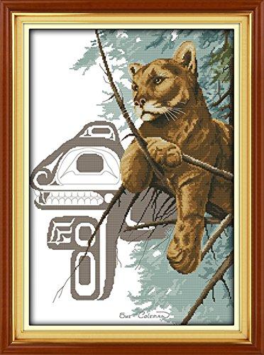 CaptainCrafts Heiß Neue Veröffentlichungen Kreuzstich Kits Muster Stickerei Kit - Tier Art Tige Rover Schauen Sie (GESTEMPELT) (Gezählt Kreuzstich-muster Halloween)