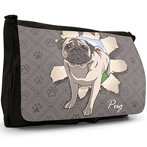 Spezzare cani grande borsa a tracolla Messenger Tela Nera, scuola/Borsa Per Laptop Pug Breaking Through