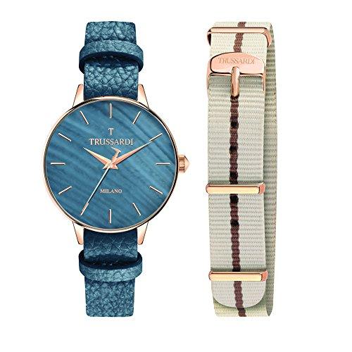 TRUSSARDI Reloj Analógico para Mujer de Cuarzo con Correa en Cuero R2451120506