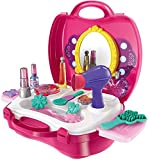 #1: higadget™ Girls Bring Along Beauty Suitcase Makeup Vanity Toy Set - 21 piece