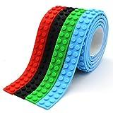 Nastro adesivo autoadesivo riutilizzabile del silicone, compatibile con la costruzione della raccolta di Lego, giocattoli educativi di immaginazione di ispirazione, 2 viti prigioniere (Rosso + Verde + Nero + Blu Chiaro)