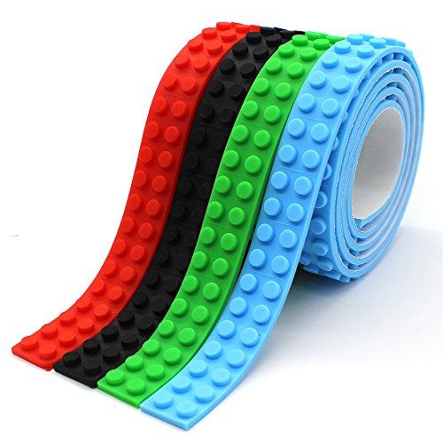 Wiederverwendbar Silikon Selbstklebend Baustein Klebeband, Kompatibel mit Lego Bausets, Pädagogisches Spielzeug zum Anregen der Vorstellungskraft, 2 Bolzen (Rot+Grün+Schwarz+Hellblau) (Coole Band)