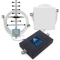 ANYCALL Teléfono Celular Amplificadores de Señal Tri-Banda 900/1800/2100MHz 2G/3G/4G Cell Phone Signal Booster con Panel y Yagi Antena Kit para Vodafone (Panel y Yagi Antenas)