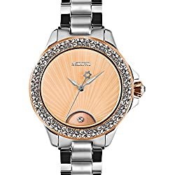 MEDOTA Gratia Women's Studded Automatic Water Resistant Analog Quartz Watch - Orange