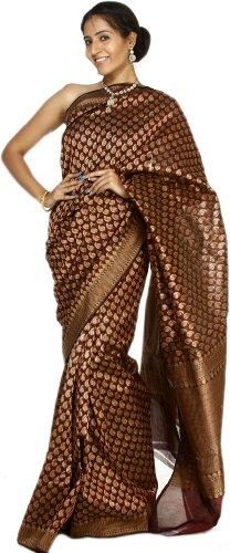 Exotic India Tawny-Port Banarasi Saree with Hand-woven Paisleys - Multi-Coloured