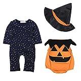 Newborn Baby Costumes d'Halloween Romper Bodysuit Outfits Ensemble de chapeaux de sorcière 3PCS par Shiningup