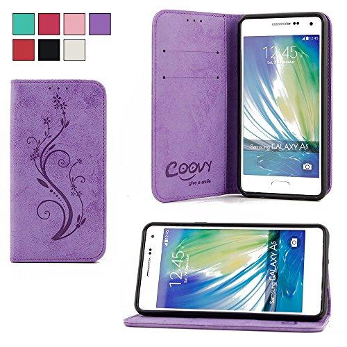 COOVY® Custodia per Samsung Galaxy A5 SM-A510 / SM-A510F (Model 2016) Portafoglio Scomparti per Carte, Chiusura Magnetica, Basamento, Protettiva per Schermo | Flower | Colore Viola