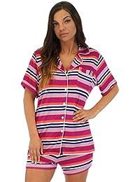Pajama Heaven Ensemble femme haut à manches courtes boutonné et short