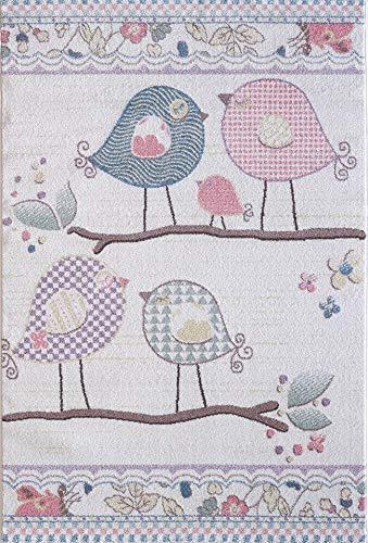 Pergamon Kinder und Spielteppich Softstar Kids Tiere Singende Vögel Pastell Bunt in 5 Größen