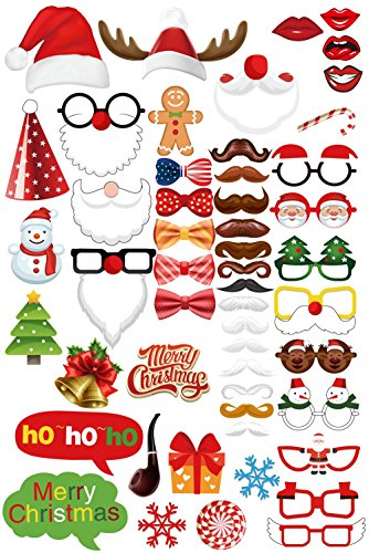 (MotGlobal 52 pcs Foto Requisiten Fotoaccessoires Party Weihnachten Photo Booth Props Xmas Kreative Gegenstände DIY Set)