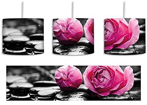 Dark Pinke Rosenblüten auf Zensteinen schwarz/weiß inkl. Lampenfassung E27, Lampe mit Motivdruck, tolle Deckenlampe, Hängelampe, Pendelleuchte - Durchmesser 30cm - Dekoration mit Licht ideal für Wohnzimmer, Kinderzimmer, Schlafzimmer